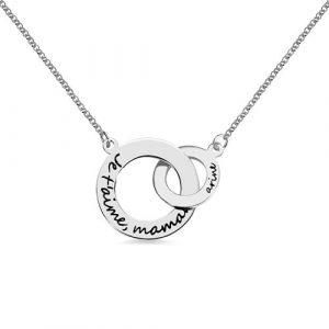 Collier 2 anneaux entrelacés personnalisé