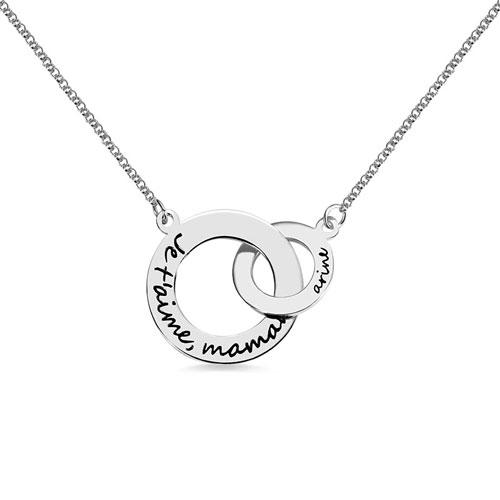 Collier 2 anneaux entrelacés personnalisé en argent plaqué Or et plaqué Or rose 18 carats