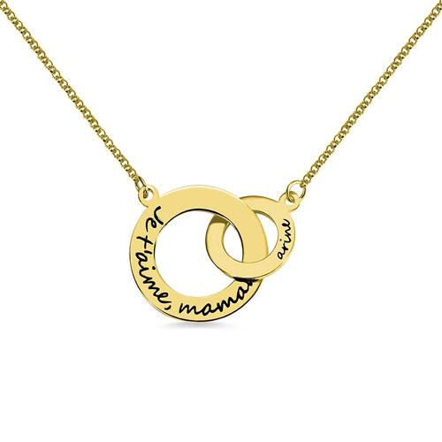 Collier 2 anneaux personnalisé en argent massif plaqué Or et plaqué Or rose 18 carats