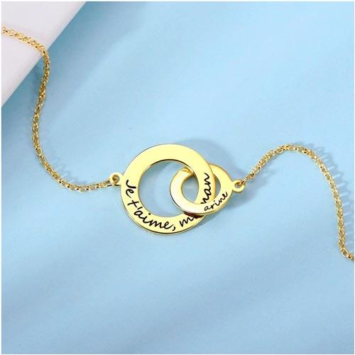 Collier 2 anneaux personnalisés en argent massif plaqué Or et plaqué Or rose 18 carats