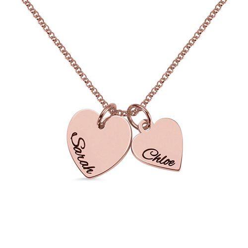 Collier 2 coeurs personnalisé en plaqué OR rose le cadeau parfait à offrir à votre bien aimée