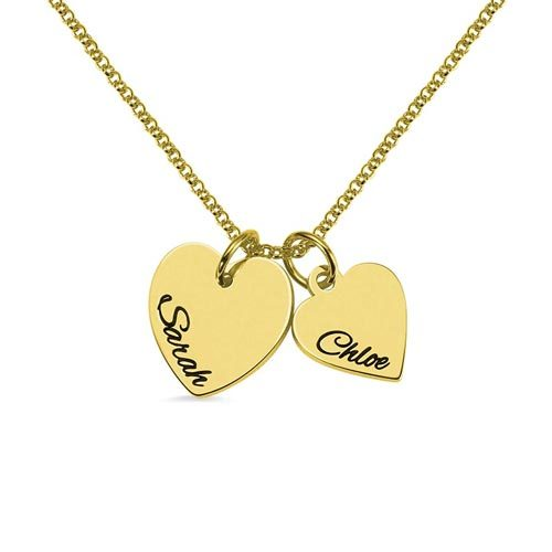 Collier 2 coeurs personnalisé en plaqué Or un cadeau original qui fera plaisir à votre maman