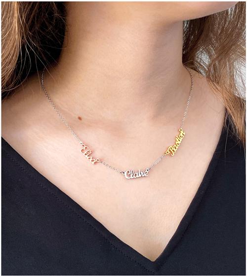 Collier 3 prénoms en plaqué Or 18 carats bijou personnalisable