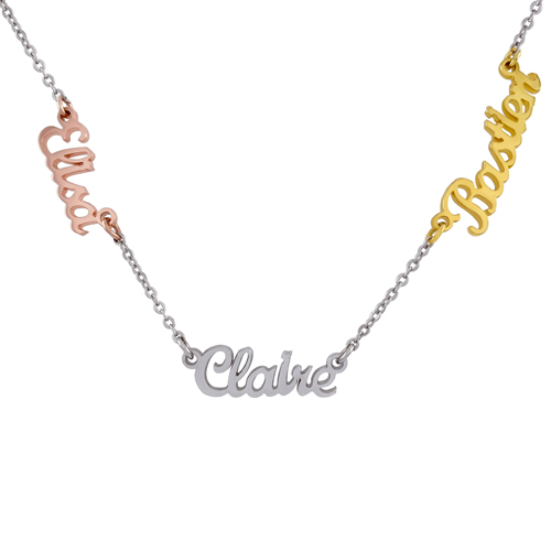 Collier personnalisé avec 3 prénoms en argent en plaqué or et plaqué or rose 18 carats