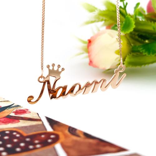 Collier couronne en or 18 cartas personnalisable