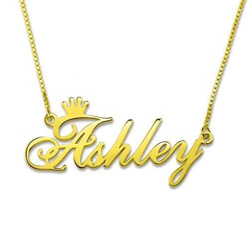 Collier prénom couronne personnalisé en plaqué Or 18 carats