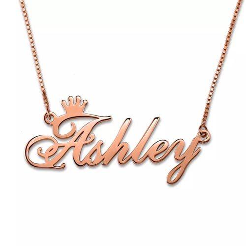 Collier prénom couronne personnalisé plaqué Or rose 18 carats