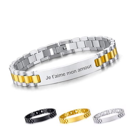 Bracelet homme personnalisé argenté le cadeau idéal pour la fête des pères