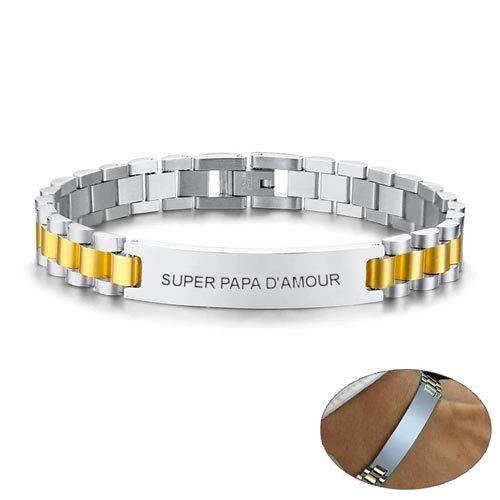 Bracelet homme personnalisé argenté Or le cadaeu parfait pour la fête des pères