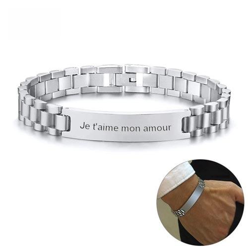 Bracelet homme personnalisé argenté