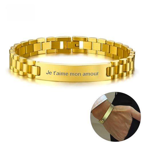 Bracelet homme personnalisé couleur Or