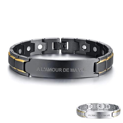 Bracelet magnétique personnalisable pour homme