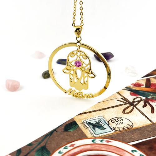 Collier main de fatma en argent 925 bijou personnalisé avec prénom