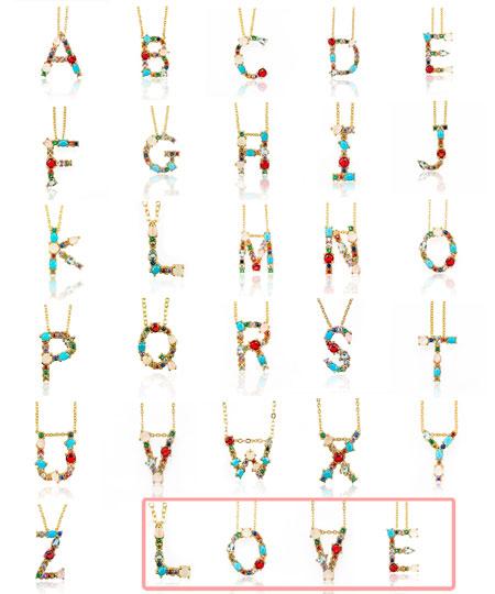 Collier pendentif alphabet incrusté de pierres