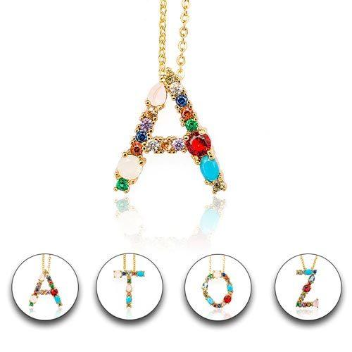 Collier pendentif initial alphabet lettre incrusté de pierres couleur Or