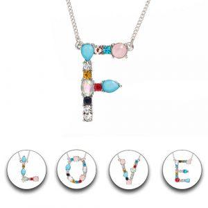 Collier pendentif initial alphabet