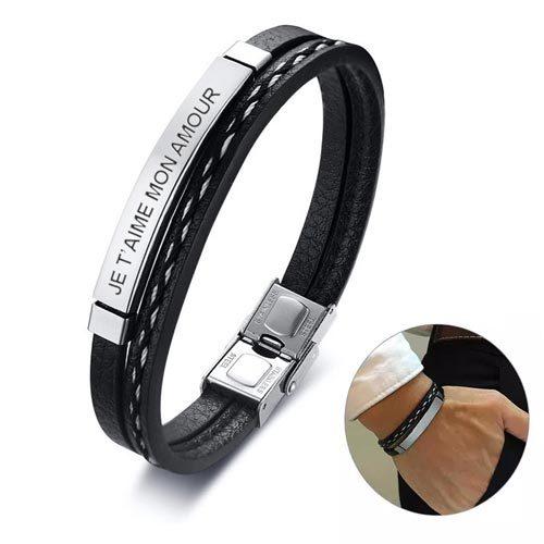 bracelet homme personnalisable en acier inoxydable