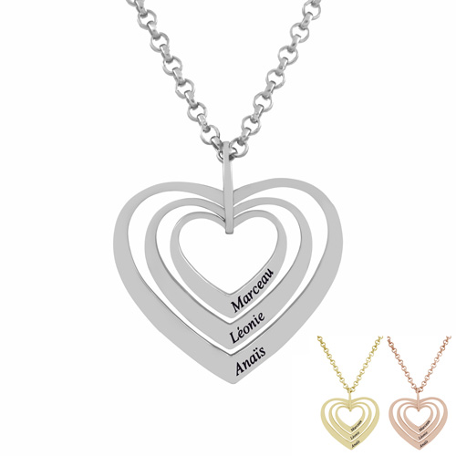 Collier prénom trois coeurs Personnalisé en argent le cadeau vous pouvez ajouter jusqu'à 3 inscriptions de votre choix sur ce bijou personnalisable en argent