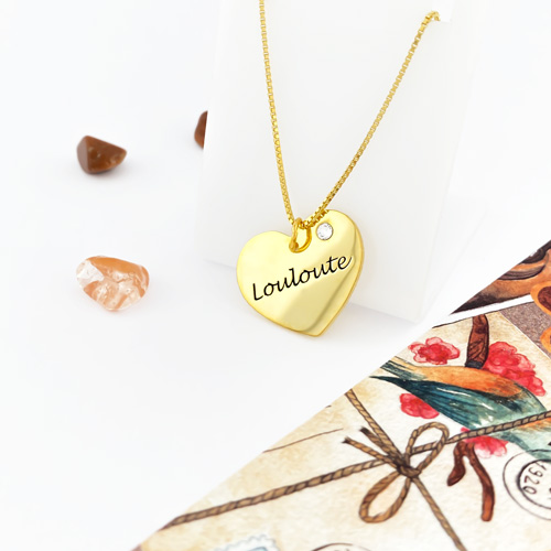 Collier coeur personnalisé en plaqué Or bijou à offrir pour la fête des mères