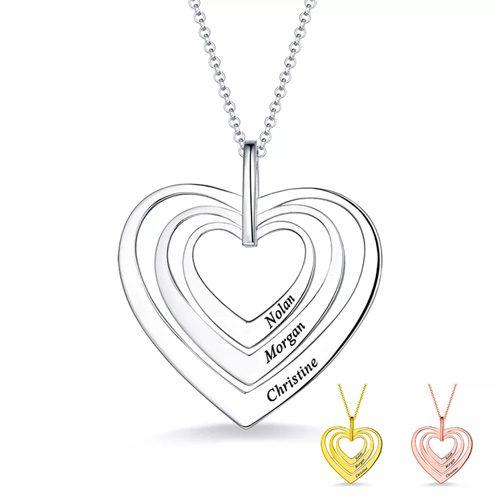 Collier prénom trois coeurs Personnalisé en argent le cadeau parfait pour la fête des mères ou un anniversaire