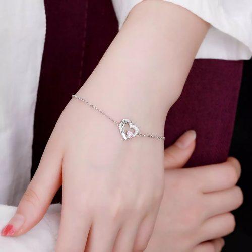 Bracelet coeur personnalisé avec pierre de naissance