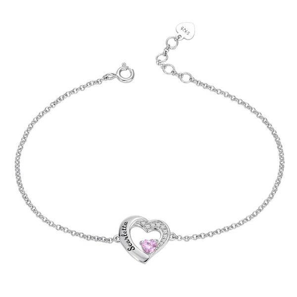 Bracelet coeur personnalisé en argent bijoux personnalisable avec une pierre de naissance