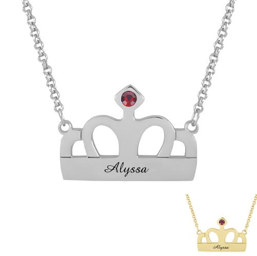 Bijou personnalisé collier couronne à personnaliser avec un prénom