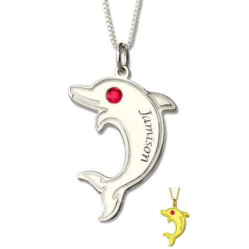 Collier dauphin personnalisé prénom en argent pour les amoureux de ce magnifique mammifère