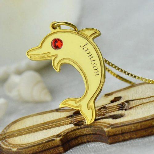 Collier dauphin personnalisé prénom plaqué Or 18 carats