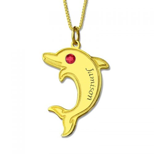 Collier dauphin personnalisé prénom plaqué Or 18 carats le cadeau parfait pour votre enfant