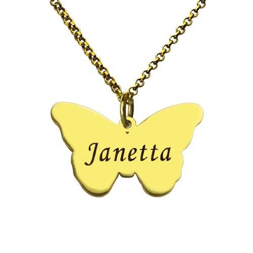Collier papillon personnalisée en plaqué Or 18 carats