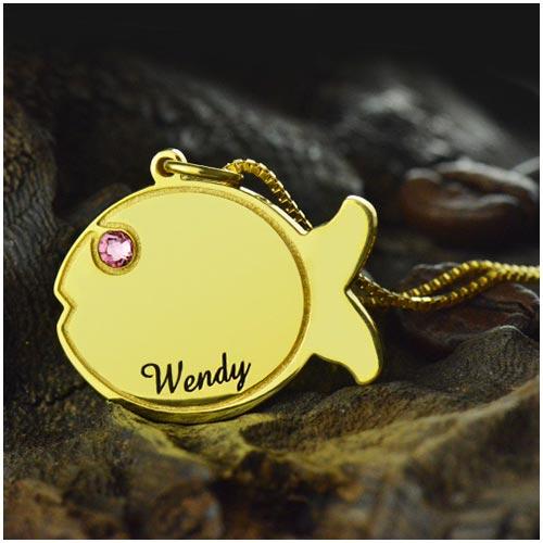 Collier pendentif pour enfant poisson un joli collier à personnalisé avec un prénom