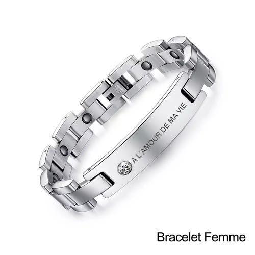 Gourmette personnalisée bracelet magnétique ce tres joli bijou et le cadeau ideal à partager en couple bracelet personnalisable pour femme