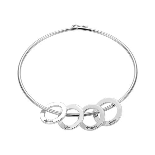 Bracelet pendentifs anneaux personnalisés en argent massif 925