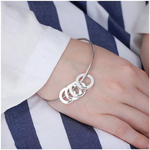 Bracelet russe avec pendentifs anneaux personnalisés en argent massif 925