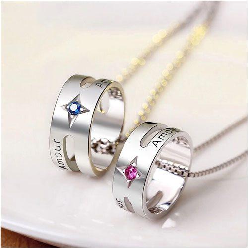 Collier bague anneau personnalisé avec 2 prénoms