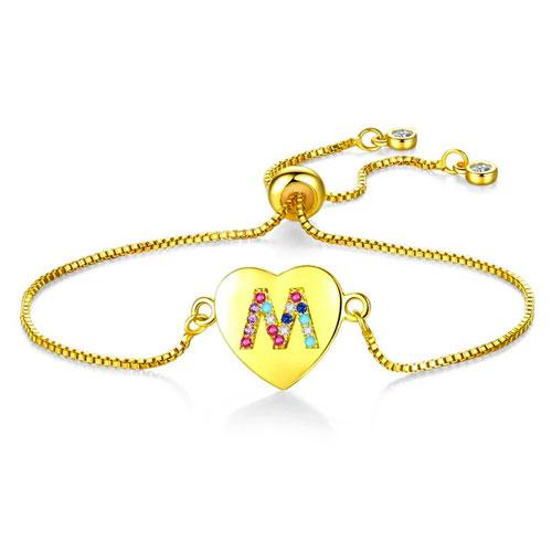 Bracelet coeur alphabet personnalisé avec pierre de couleurs
