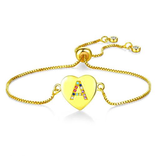Bracelet initial lettre personnalisée bracelet pour femme en forme de coeur