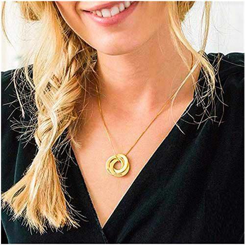 Collier anneaux gravé en plaqué or 18 carats cadeau personnalisable