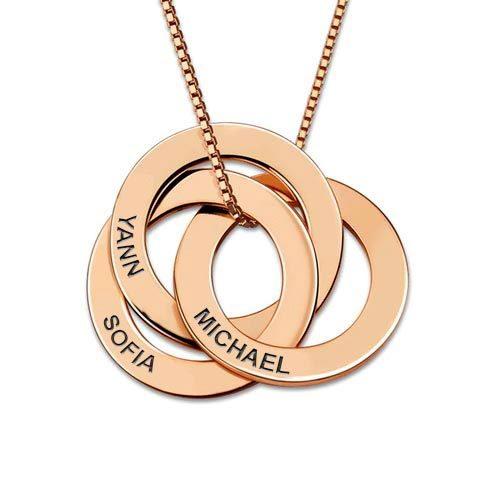 Collier russe personnalisé prénom en plaqué Or 18 carats 3 anneaux personnalisables avec prénom