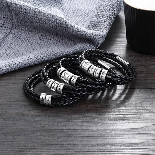 Bracelet homme perles personnalisables en argent