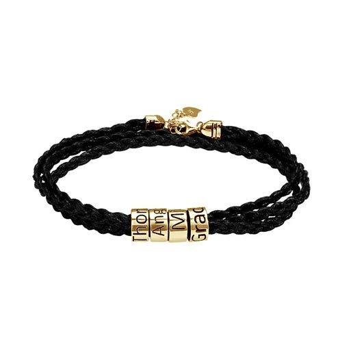 Bracelet homme perles personnalisées acier inoxydable bijou et gravure de qualité