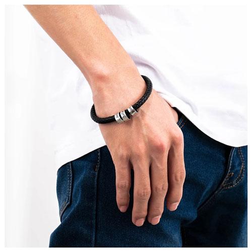 Bracelet personnalisé homme en cuir cadeau pour homme personnalisable