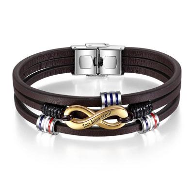 cadeau personnalisé bracelet Infini personnalisé homme