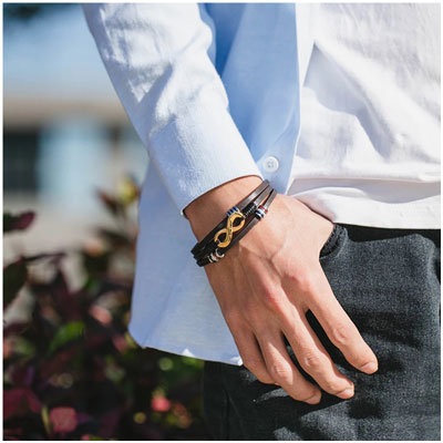 Bracelet Infini pour homme personnalisable cadeau pour la fête des pères