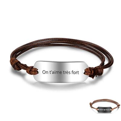 Bracelet cordon personnalisé cadeau personnalisable unisexe