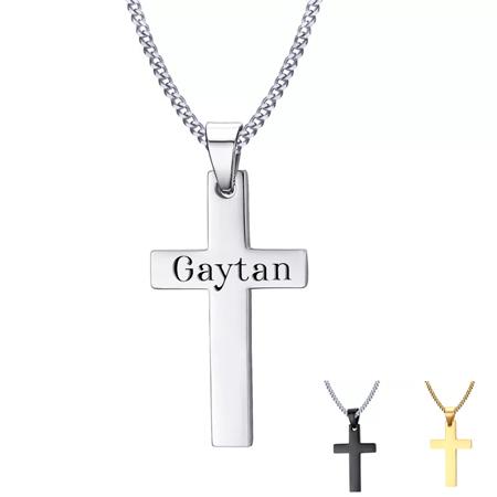 Collier croix personnalisé croix chrétienne gravée avec prénom
