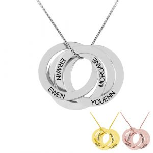Collier 4 anneaux gravés