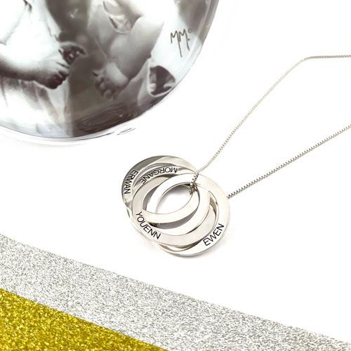 Bijou personnalisé Collier 4 anneaux gravés ajoutez jusqu'à 4 inscriptions de votre choix sur chacun des anneaux