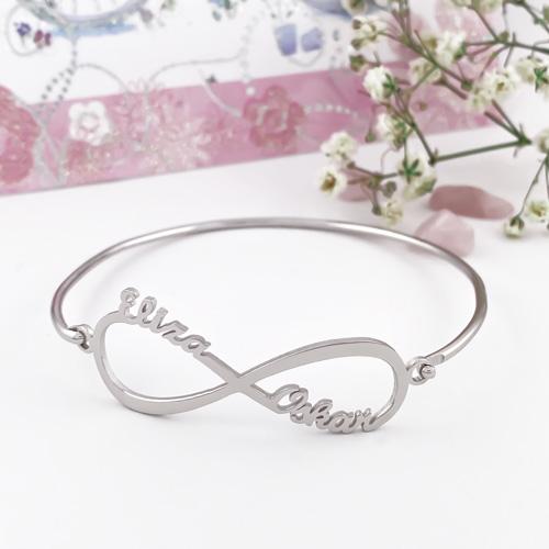 Bracelet jonc infini avec 2 prénoms à personnaliser